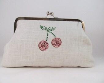 Cherries Clutch Purse-Clutch-Handbag-Kisslock-8 inch