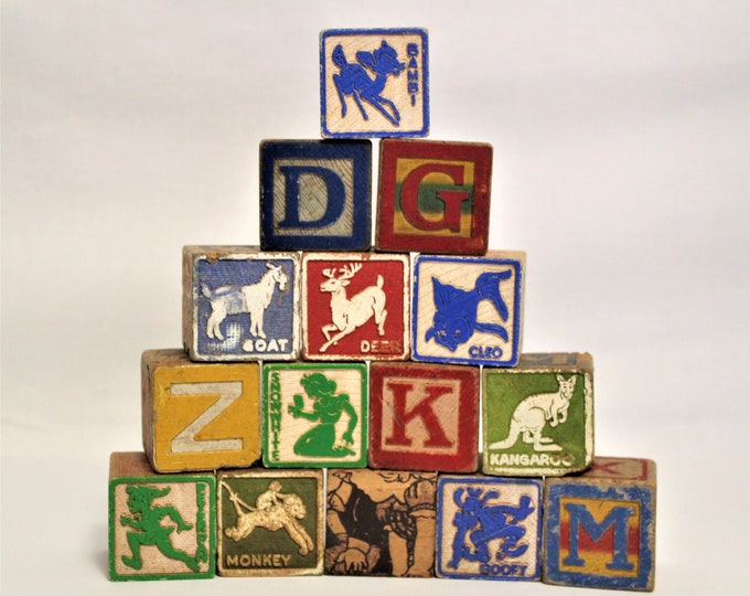 Vintage Collection of Large Children's Wooden Letter blocks,  Disney Characters