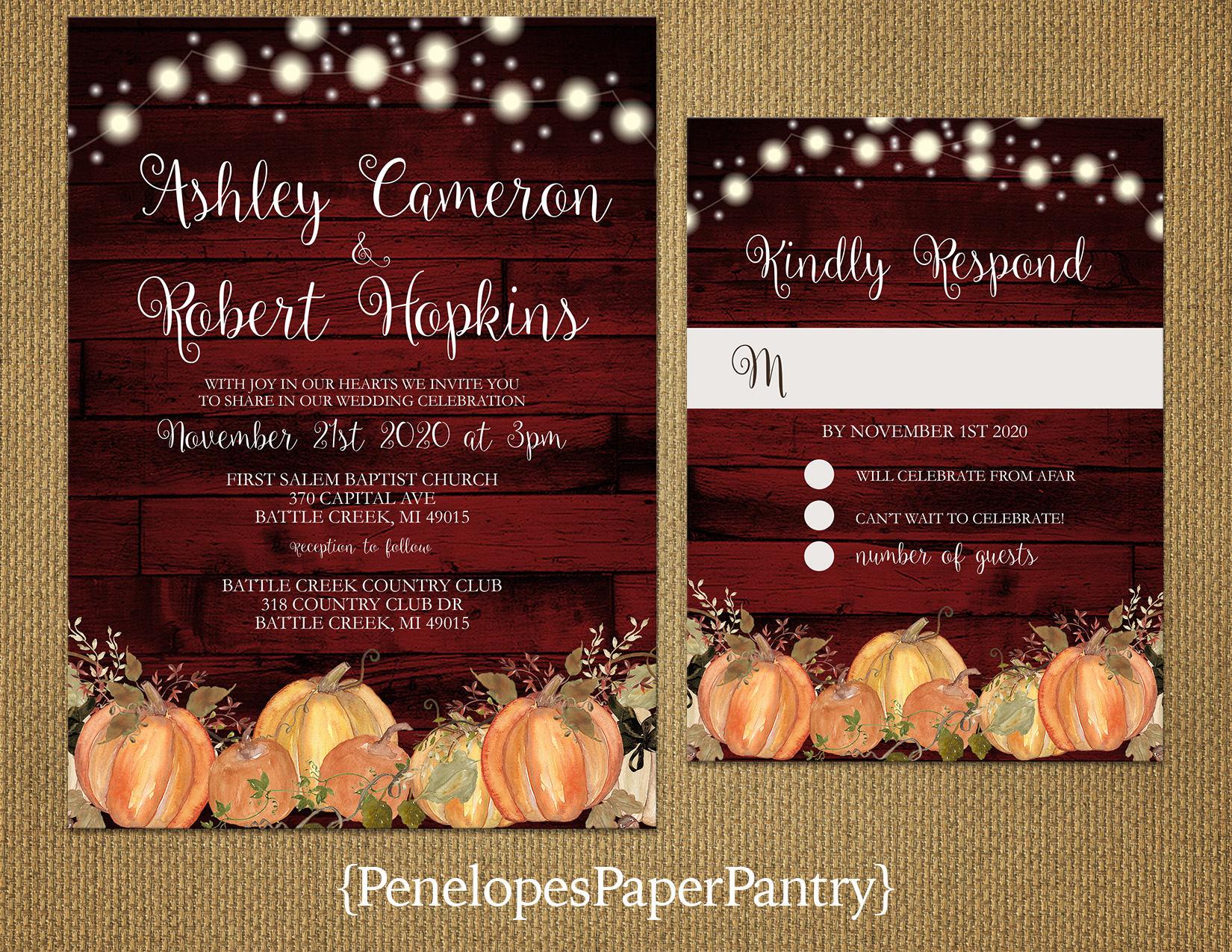 Rustic Burgundy Pumpkin Fall Wedding InvitationOrange