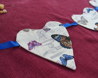 Bunting, Heart Bunting, Fabric bunting, Butterflies, French, Music, wall hanging, decoration, fire place, Wedding, crafty space
