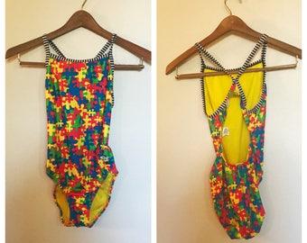 Vintage 90er Jahre Puzzleteil und gestreift Einteiler Badeanzug