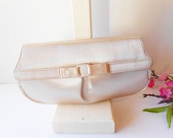 Champagne Evening Bag,  Vintage Taffeta Purse, Clutch Bag, Pale Gold Evening Bag, Glamorous Purse, Wedding Bridal EB-0546