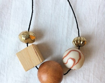 Market Necklace 3 / Clay and Vintage Bead Necklace
