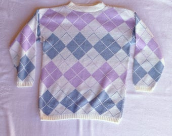 Argyle Knit Vintage Sweater - Fairy Kei Kawaii Style