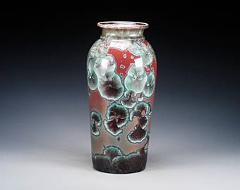 Ceramic Vase - Red, Green - Crystalline Glaze on High-Fired Porcelain - Hand Made Pottery - FREE SHIPPING - #E-5147