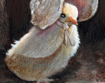 original art  aceo drawing chicken chick in hat bonnet cute
