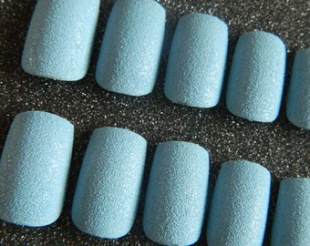 Blue Textured False Nails.