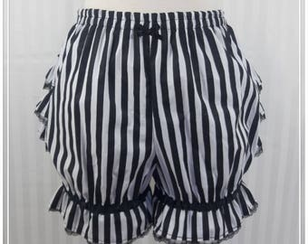 Black and white stripe fancy ruffle short bloomers steampunk lolita adult women