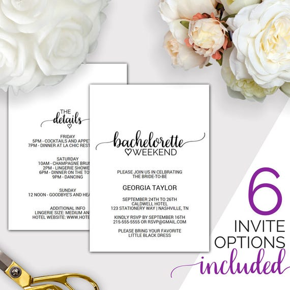 Bachelorette Weekend Invitation W Itinerary Template - Party invitation template: bachelorette party itinerary template