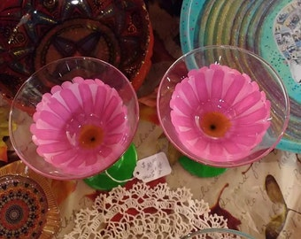 Pink Daisy hand painted martini glasses (Set of two)