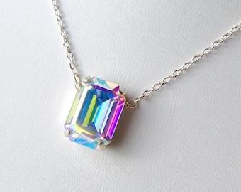 AB Aurora Borealis Swarovski Crystal Rhinestone Necklace / aurora borealis pendant / Mother's Day gift / Bridal / AB crystal necklace