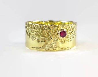 father day gift, mens gold ring, wide gold ring, Wedding tree ring, tree wedding ring, gold tree ring, mens wedding ring, Tree of life ring