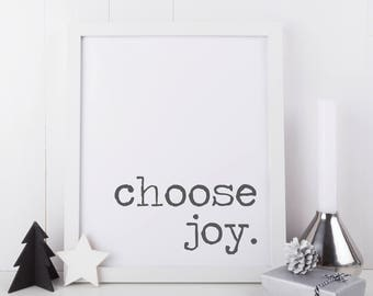 Choose Joy Wall Art, Printable Holiday Art, Christmas Printable, Holiday Home Decor