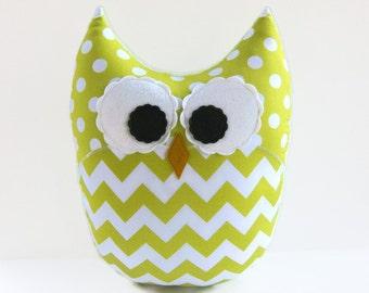 Large Chevron Owl Pillow Lime Green White Nursery Decor