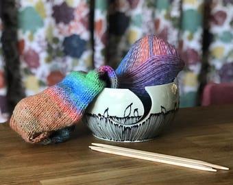 Yarn Bowl Knitting Bowl Blue Birds on a Wire Pinstripes