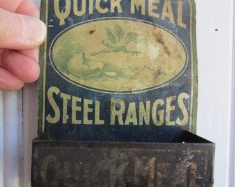 Antique Metal Match Holder Quick Meal Gas Stove Advertising Match Holder Rustic Match Holder 1920 Match Holder Farmhouse Kitchen Decor
