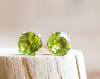 Peridot Ear Studs - August Birthstone