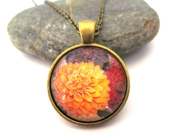 Yellow, Red and Purple Dahlias  Dahlia Necklace, Flower Necklace, Fall Flowers, Bronzed