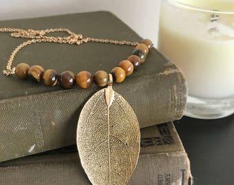 Tigers Eye Leaf Pendant Necklace