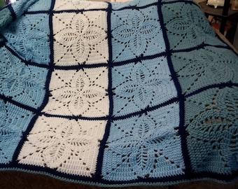 """Handmade 50x60 Crocheted Throw, Blue and White Crochet Blanket, """"Fancy Design Crochet Afghan"""""""