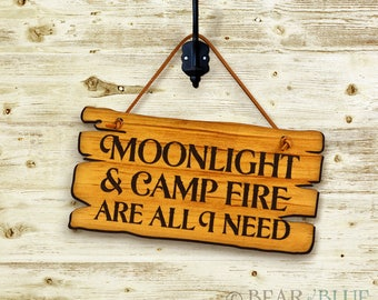 "Rustic Etched-Pine Sign, ""Moonlight and Campfire"""