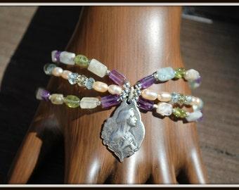Virgin Mary Bracelet, Multi Gemstone Bracelet, Faith Charm Bracelet, Multi Strand Gemstone Bracelet, Religious Bracelet, Faith Bracelet