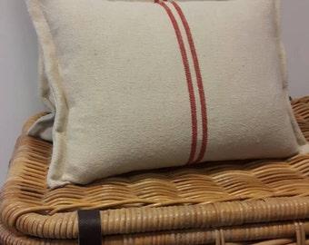 Grain sack cushions; old flour sack fabric cushions