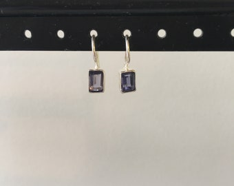 Mini iolite and sterling earring