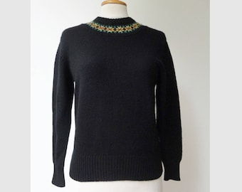 Black 60s Vintage Sweater // Miss Baron // Neckline Yellow Red Green // Size M // Made In Denmark