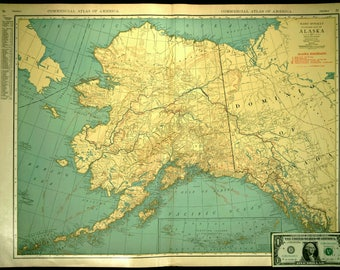 Alaska Map EXTRA LARGE Alaska Railroad Wall Art