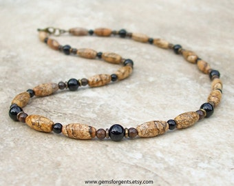 Brown Picture Jasper, Black Onyx and Brown Bronzite, Mens Beaded Necklace, Mens Jewelry – N79