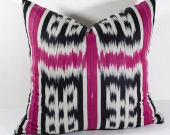 18x18 inches maroon burgundy gray ikat cotton pillow cover, interior decoration, ikat cushion, uzbek ikat, ikat design, square pillow