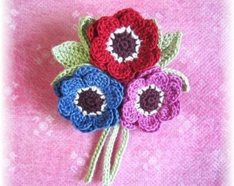 handmade croceht flower motif brooch corsage for party, wedding, gift