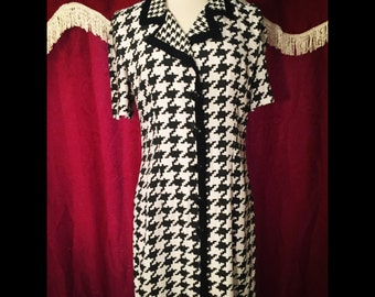 Vintage black and white button dress/80S/90S/MEDIUM/LARGE