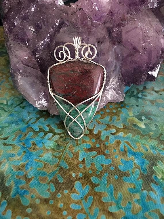 Sonora Sunrise Stone Sterling Silver Wire Wrapped Pendant, Sonora Sunrise Stone Jewelry, Sonora Sunrise Wire Wrapped Pendant