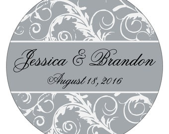 48 - 2.5 inch Glossy Waterproof Wedding Stickers Labels - many designs to choose from - change designs to any color or wording WR-083