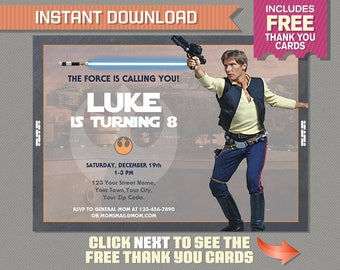 Star Wars Party Printable Invitation with FREE Thank you Card - Star Wars Party - Han Solo - Editable PDF files - Print at home