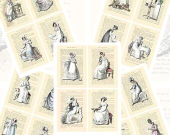 Jane Austen's World--Regency Fashions Printables, Part 2, POSTCARD SIZE, (3.5 x 5 Inch or 12.7 x 8.8 cm), 16 Total