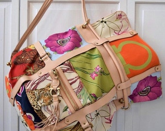 Memorial25%SALE vintage NEW XL Salvatore Ferragamo large Italy 3 way panther lion jungle scarf