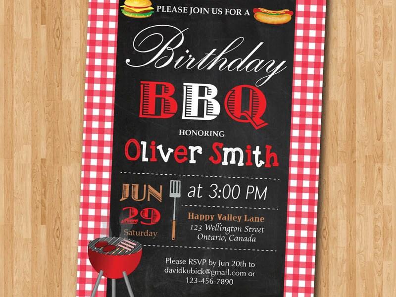 BBQ Birthday Invitation. BBQ Party Invitation. Summer Picnic