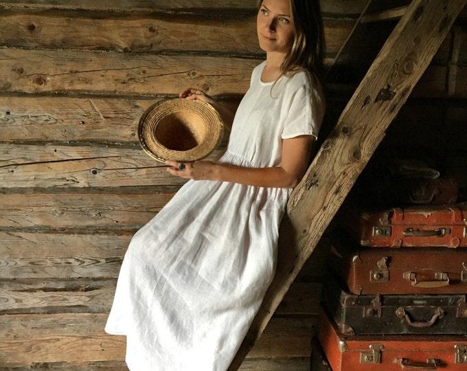 White Linen Maxi Dress, Long linen dress, plus size maxi dress with sleeves, white beach dress, plus size dress, white linen dress, xl