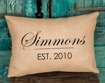 Mothers day gift, Gift for mom, Housewarming Gift, Family Name Pillow, Anniversary Gift, Family Pillow, Family Name, Established Date