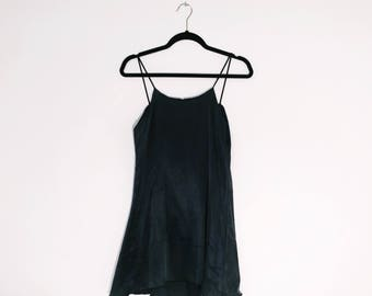 Washed Black Satin Cami Dress made from Deadstock fabric Shred Threads
