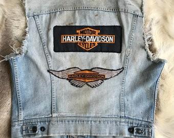 Vintage Lee Cutoff Denim Biker Harley Davidson MCM Patch Rebel Vest 1970s Sanforized 40