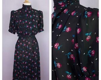Vintage 1980's Semi Sheer Black Rose Print High Neck Belted Puff Sleeve Dress S/M