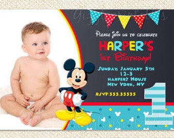 Mickey mouse birthday invitation mickey mouse invitations mickey mouse 1st birthday invitations mickey invitations mickey mouse first birthday invitations baby filmwisefo Image collections