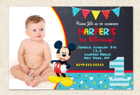 Mickey Mouse 1st Birthday Invitations Mickey Invitations