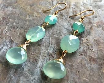 Chalcedony gemstone gold dangle earrings