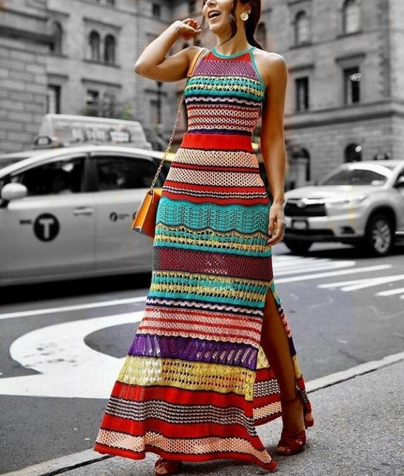 bride Maxi women hippie gift boho evening wedding replica dress knit long stripes multicolored sexy r8OzTqrwn