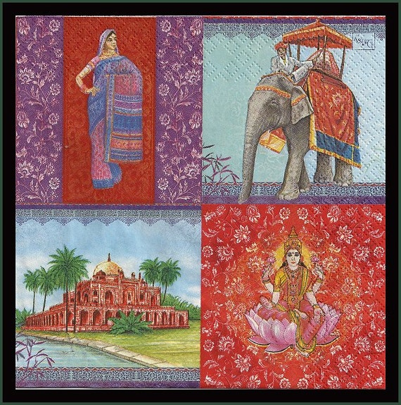 Indian Themed Decoupage Paper Napkins Lot Of Four For